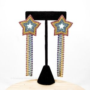 Rainbow Shooting Star Sparkly Dangling Earrings 43